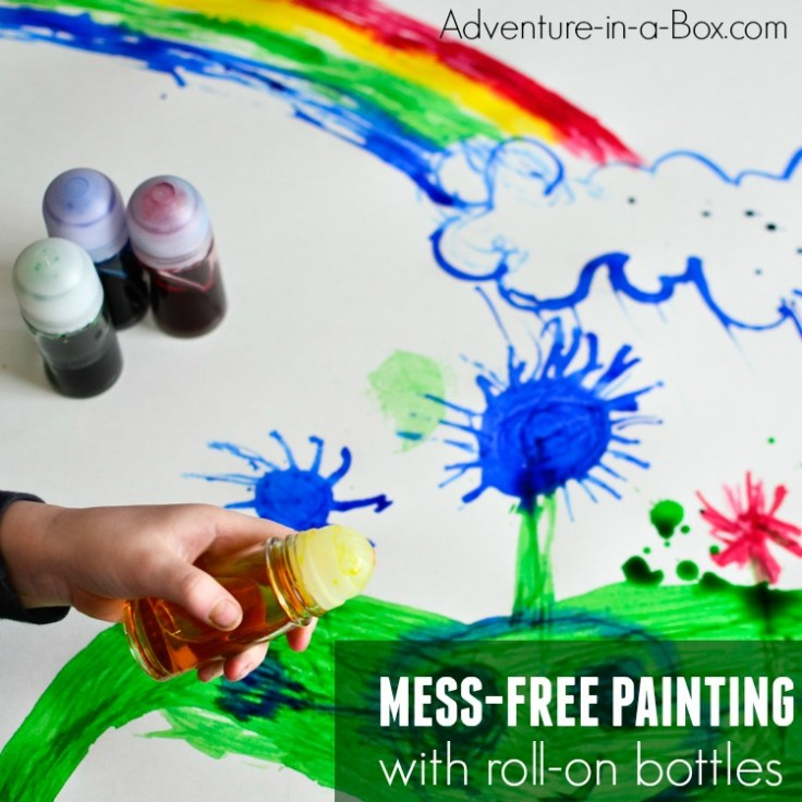 Recycle roll-on deodorant bottles by turning them into roll-on painting bottles for toddlers to make mess-free art!