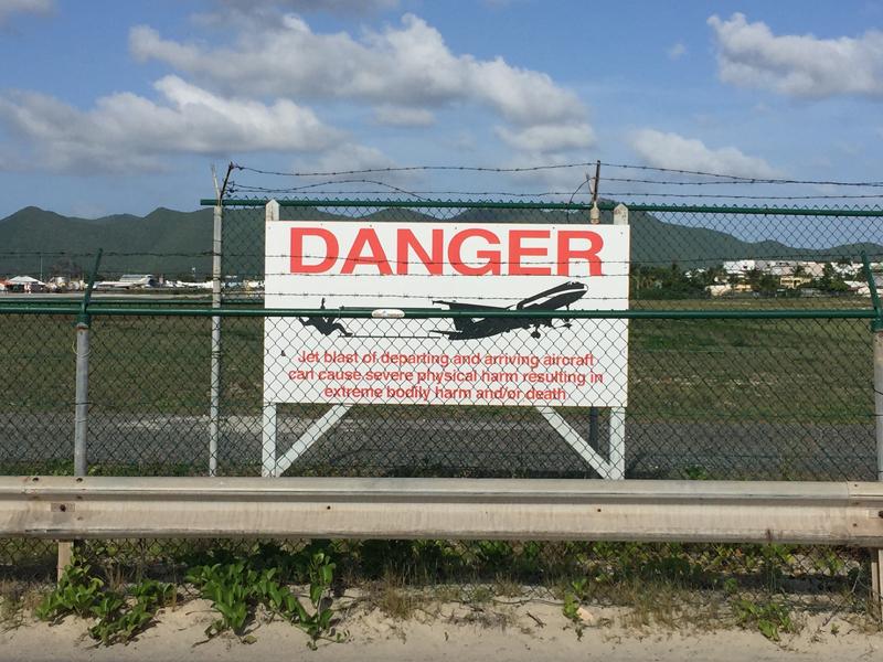 St. Maarten Maho Beach Danger Sign