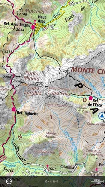 How to use your smartphone as the best backpacking gps adventure alan international mapping 2 a section of the gr20 in corsica france using the iphignie app there is no substitute for getting access to the official national gumiabroncs Choice Image