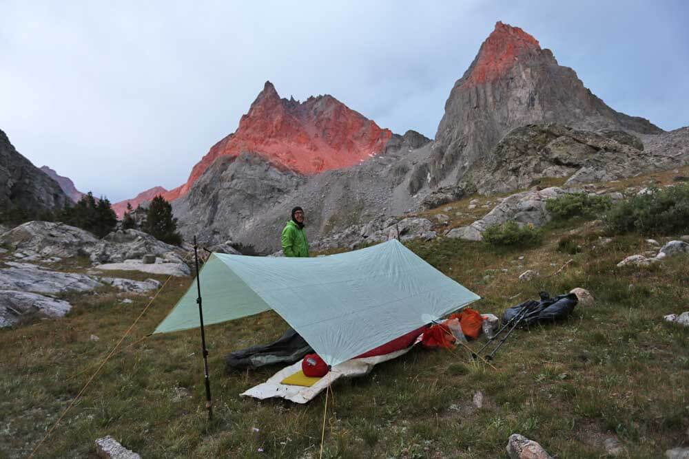 Unusual red alpenglow at our camp near Peak Lake