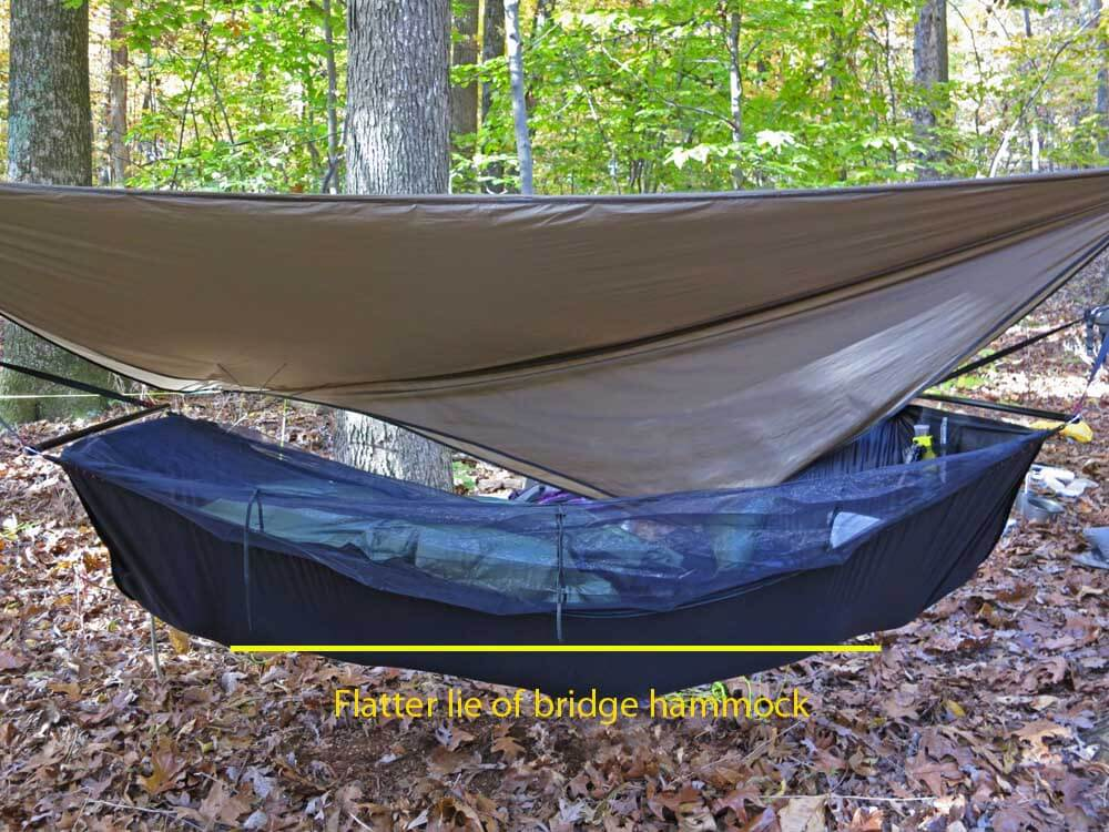 "Bridge hammocks create a ""flatter"" lie than gathered end hammocks. Note that flatter does not mean absolutely flat. Most sleepers find it more comfortable to have their head slightly lower than their feet."