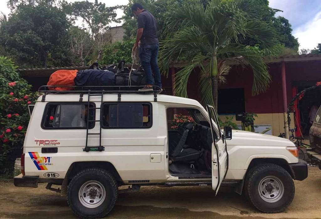 A typical 4wd vehicle used to transport up to 10 clients and their gear to the trip start.
