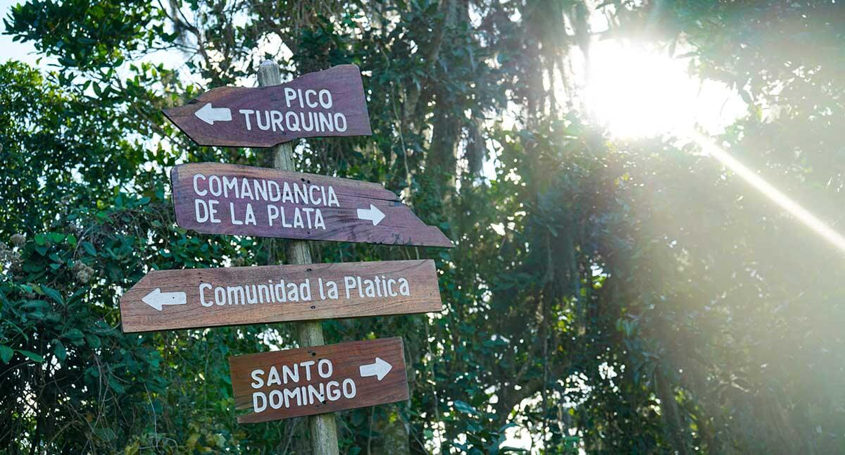 Signage near the La Comandancia de La Plata, Fidel Castro's mountain command center. This is at the very end of our trek. But it's what most tourists see getting out of their 4WD vehicle to hike to La Comandancia, or to Pico Turquino, the highest point in Cuba.