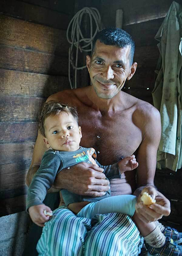 The father of the family we stayed with was feeding his sick son small pieces of bread between his fingertips.