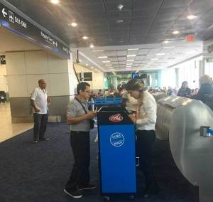 """Cuba Ready"" kiosk at Miami Airport."