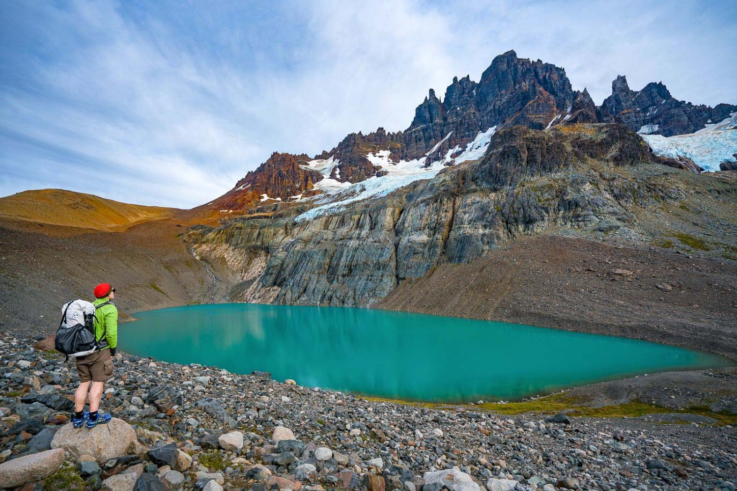 Beautiful mountaintop view with turquoise blue pond