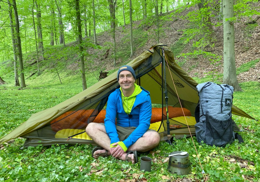 rei co-op flash air 2 tent with person in door