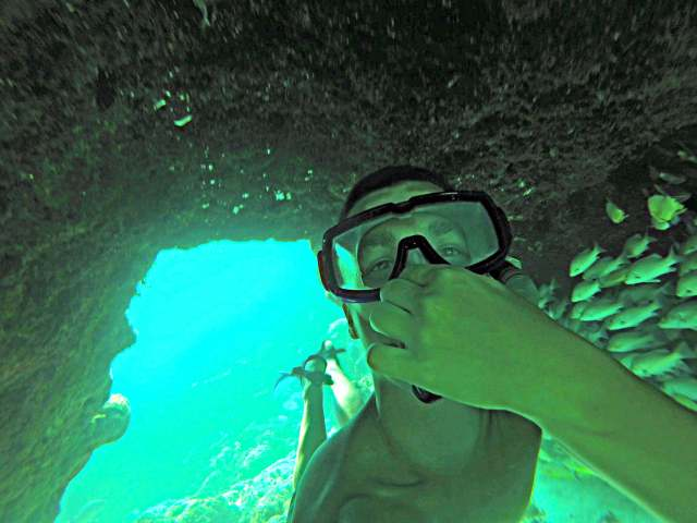 How to swim with sharks Caye Caulker Belize through the reef tunnel