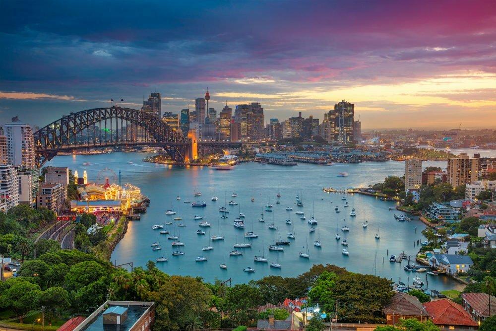 Самые красивые места в Австралии фотографии-Sydney Harbour Bay на закате