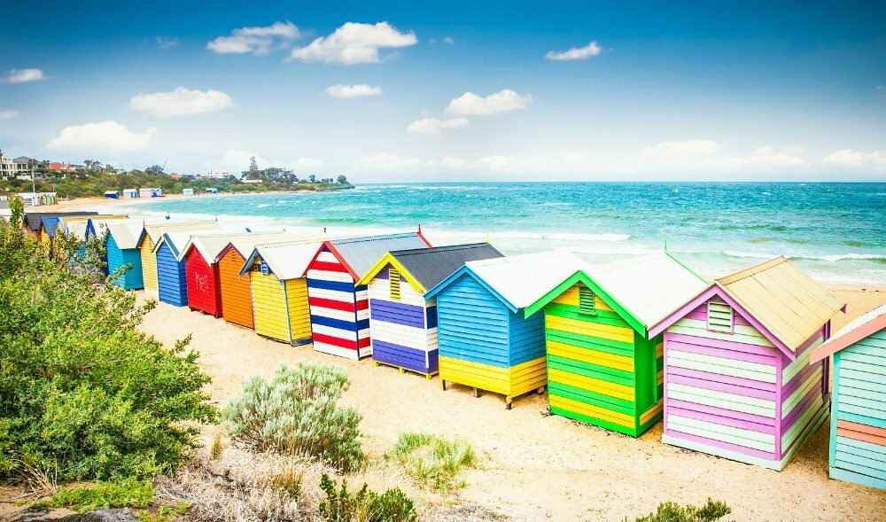 Colorful Bathing Houses on Brighton Beach Melbourne - Most Beautiful Places in Australia Photos