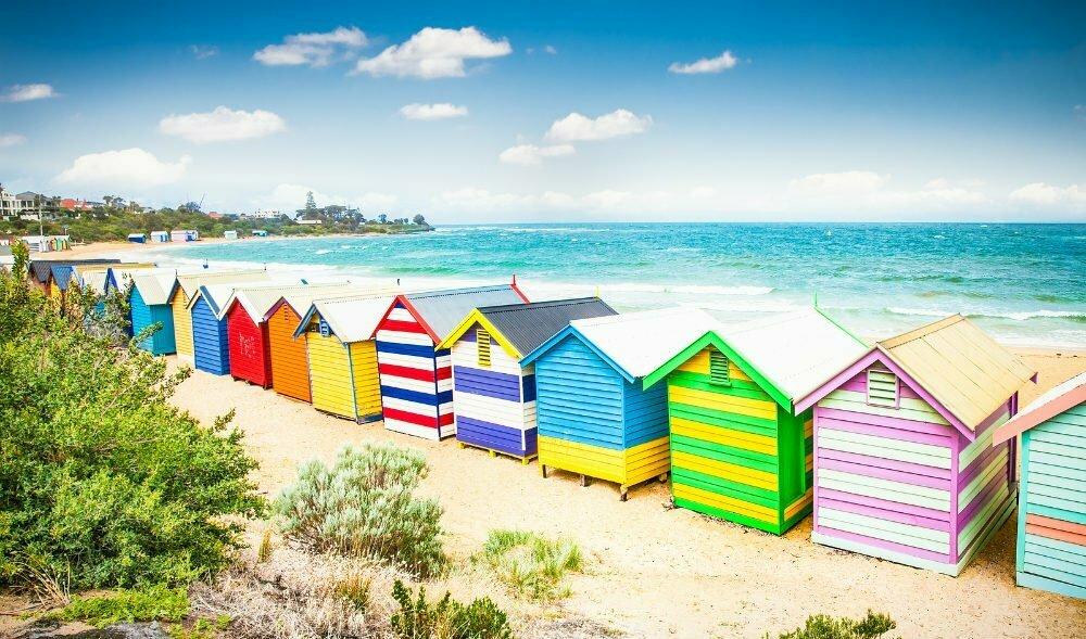 Красочные бани На Брайтон-Бич Мельбурн-самые красивые места в Австралии фотографии