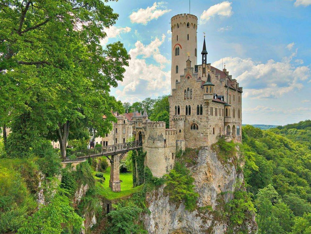 Schloss Lichtenstein Castle on Cliff in Germany