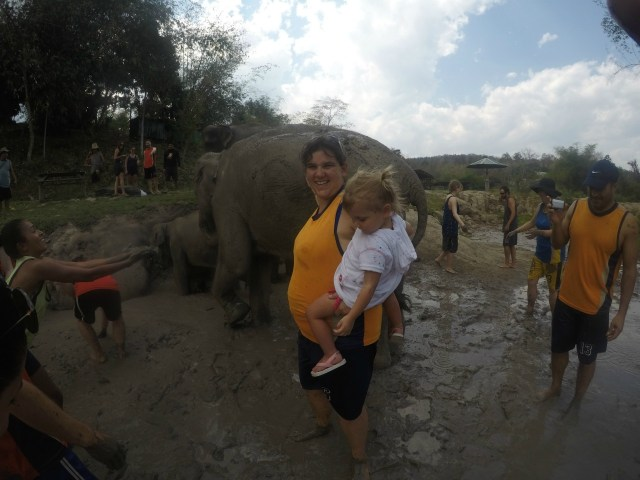 Playing in the mud with Elephants