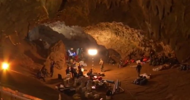 Tham Luang cave during rescue operations