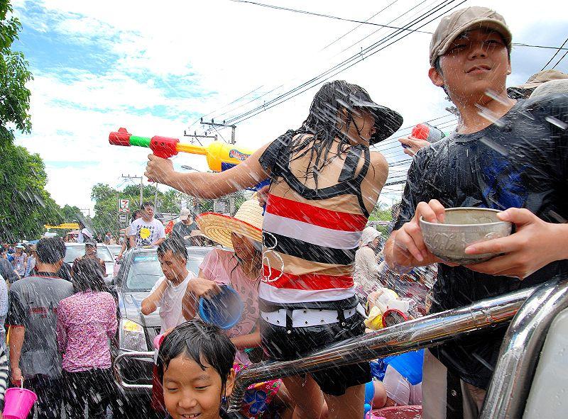 Songkran water splashing festival in Chiang Mai
