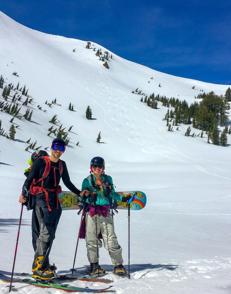 Kelsey and I in front of a sick backcountry slope