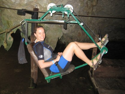 Riding the sky cycle through the jungle and into caves, near Tulum.