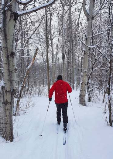 Cross country skiing on the Greenbelt trails.
