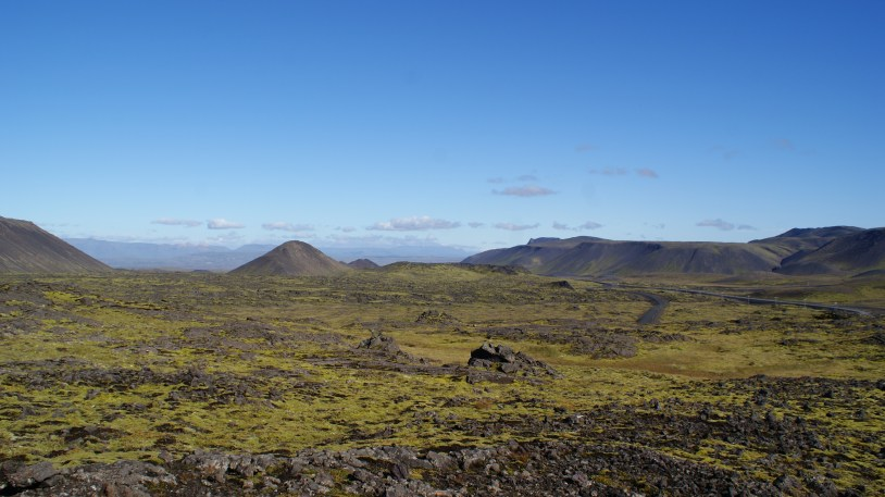 Hiking across moss covered lava fields.