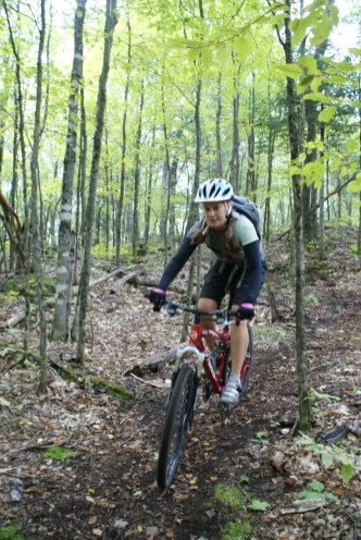 Mountain biking in Gatineau Park.
