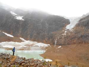 Edith Cavell Pond at the base of Mt Edith Cavell and Angel Glacier.