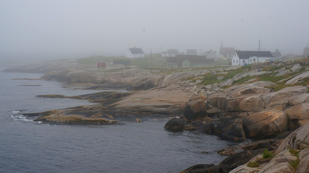 Early morning fog in Peggy's Cove.
