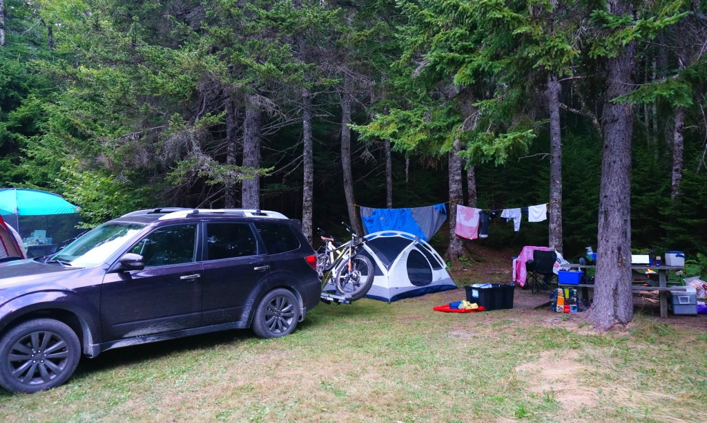 Our campsite in Fundy National Park, New Brunswick.