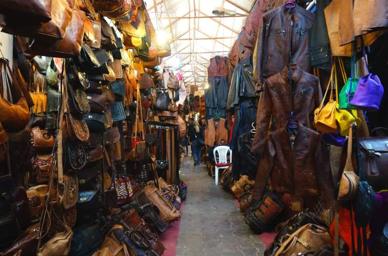 Leather goods in the souks ready for sale.