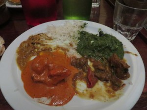 Saag, Butter Chicken, Coco Beef- All pretty plain