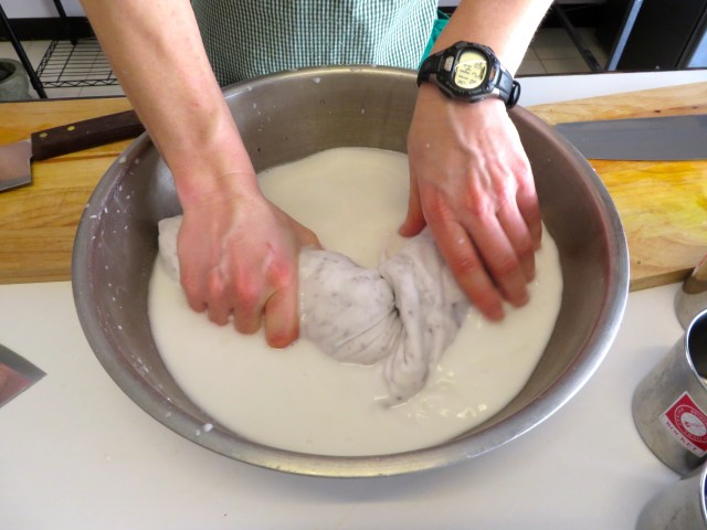 Making coconut milk for our curries
