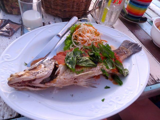 Yummy whole grilled fish at Banana Garden in Ko Lanta
