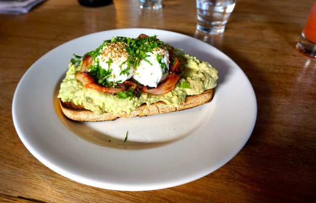 Smashed avo at Liar Liar Cafe