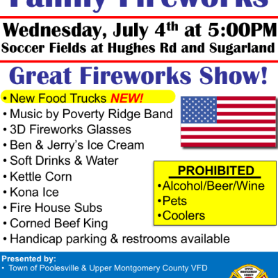 Poolesville Traditional Fireworks and Live Music Presented by Town of Pool