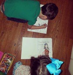 2 kids coloring