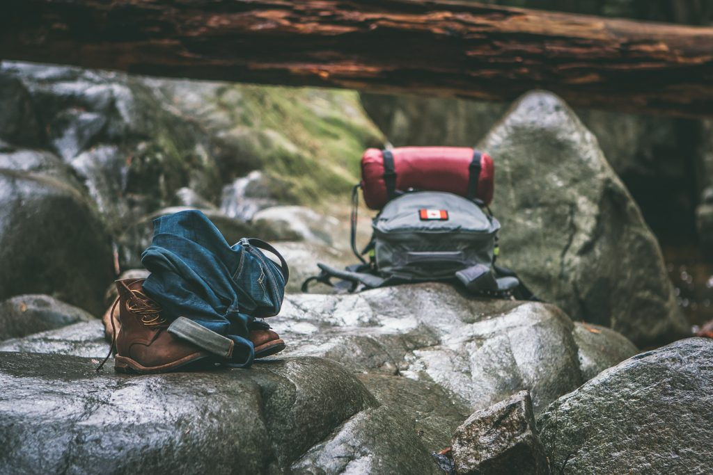 hiking boots and backpack