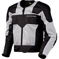 Scorpion Drafter Men's Mesh Vented Street Bike Racing Motorcycle Jacket - Silver / 2X-Large