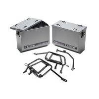 Tusk Aluminum Panniers with Pannier Racks Size Medium Silver Fits 2015 Suzuki DR650S Tusk part # 1467340027