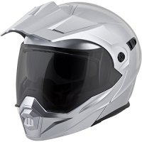 ScorpionEXO Unisex-Adult Modular/Flip Up Adventure Touring Motorcycle Helmet (Hyper Silver, X-Large) (EXO-AT950 Solid)