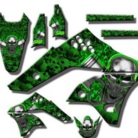 Senge Graphics 2015-2016 Kawasaki KLX 140 Flaming Gearhead Graphics Kit