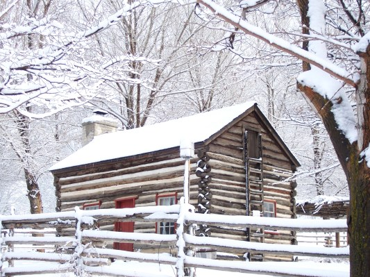 Gardiner Cabin in Winter - This is the Place Heritage Park