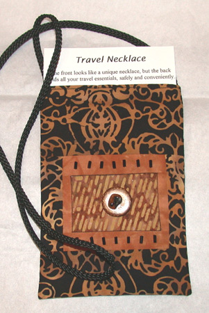 Make a travel necklace with instructions from Ellen Lindner. AdventureQuilter.com