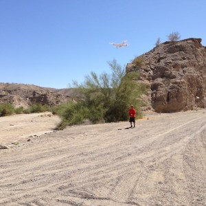Mark flying his drone.