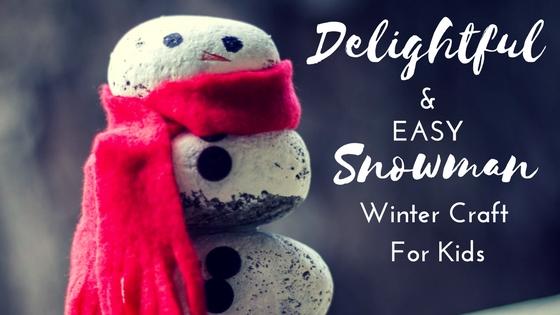 rock snowman winter craft for kids