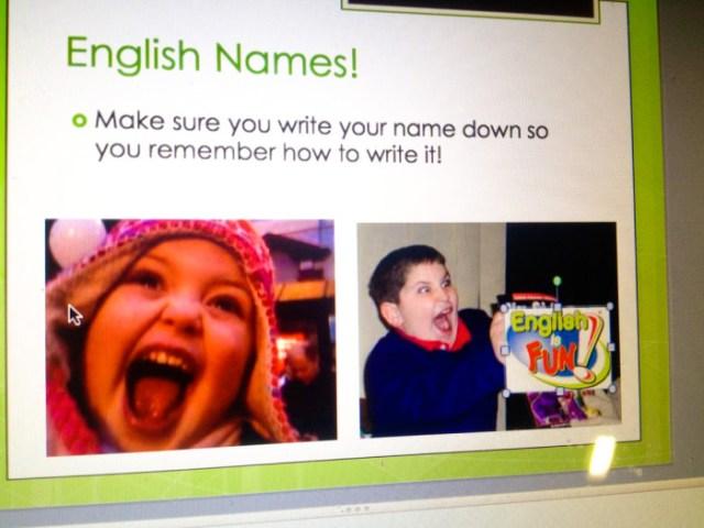 English names PPT slide