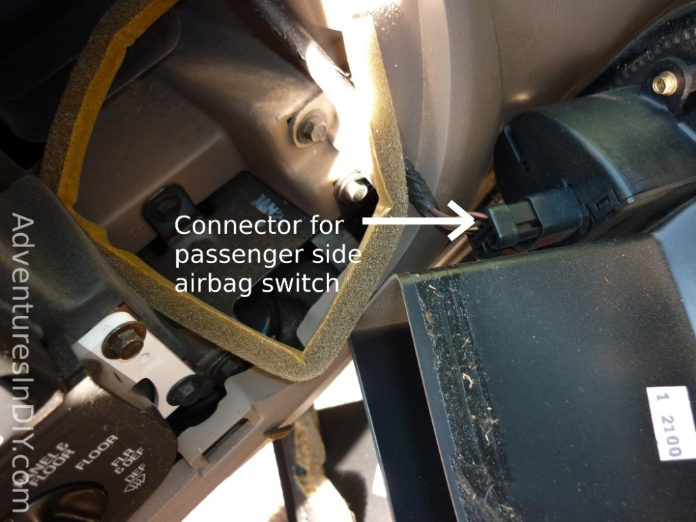 medium resolution of passenger side airbag connection