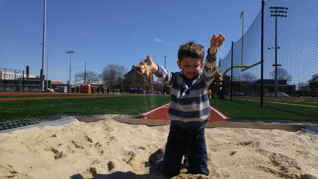 Jackson having fun at a local track, complete with sand box!