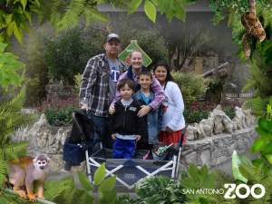 San Antonio Zoo near the entrance of the zoo. Photo taken by zoo staff. Part of their photo package.
