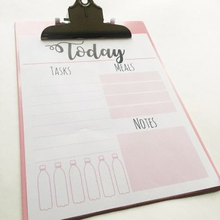 Meal planner, water tracker, daily wellness planner, printable, freebie, from Adventures of Ang, free printable