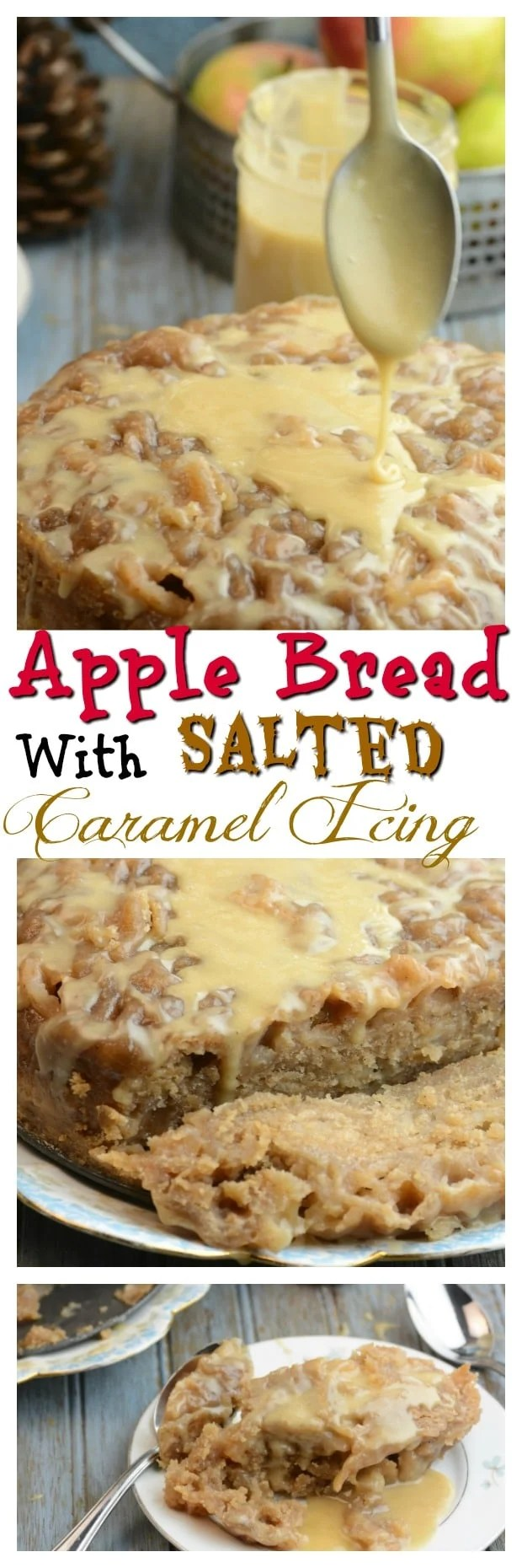 Instant Pot Apple Bread with Salted Caramel Icing