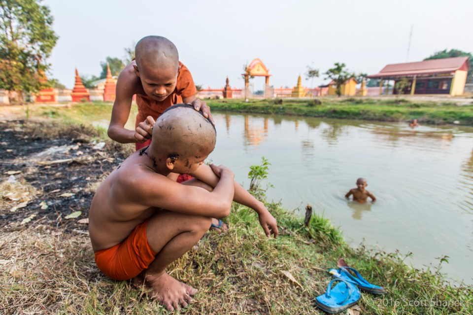 Young monk gets a shave at the pagoda.